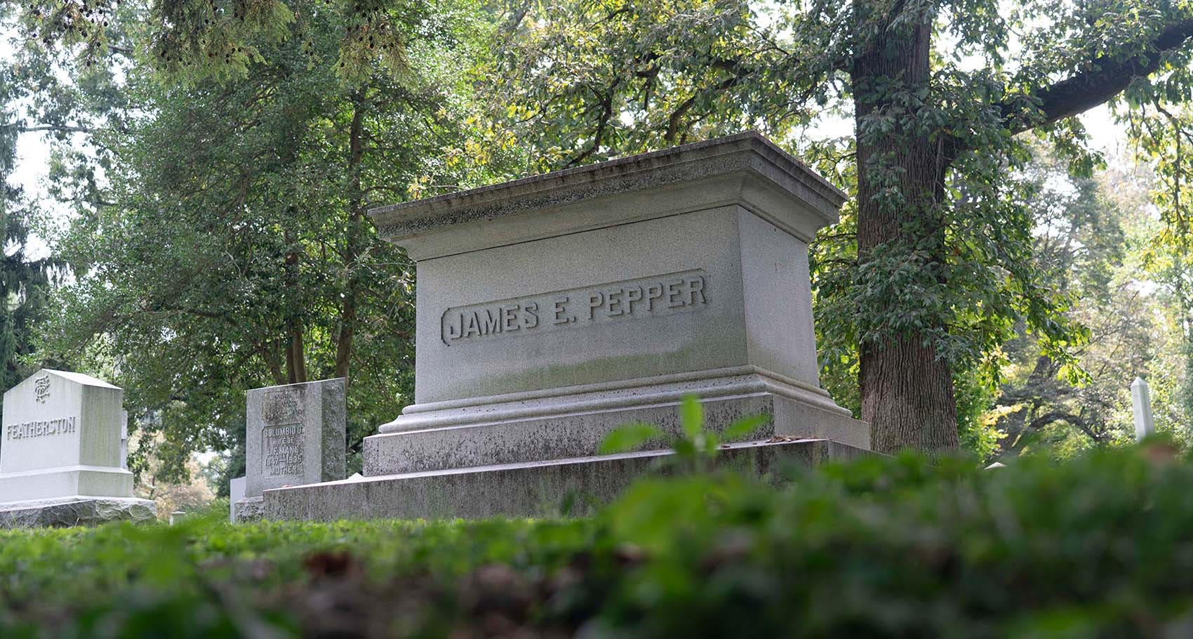 Grave of James E. Pepper, aka Colonel Pepper, the founder of the Old Pepper Distillery