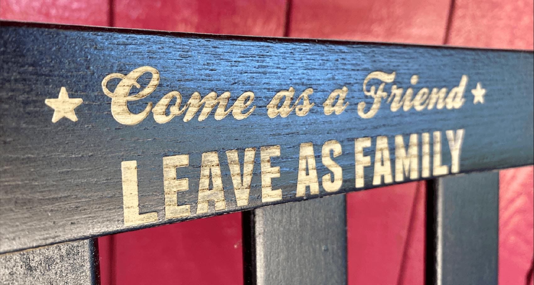 Come as a friend leave as family sign at the Jim Beam Distillery